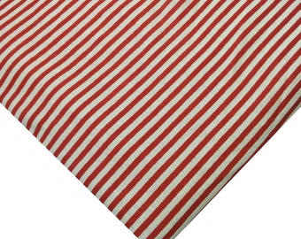 Red White Striped Cotton Fabric - Red Striped Cotton Fabric - Heavy Weight Cotton Fabric - Hand block Printed Cotton Fabric