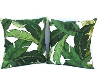 Palm Tree Leaves Pillow Cover,Indoor Outdoor Fabric, Floral Pillow Cover, Decorative Pillow Cover