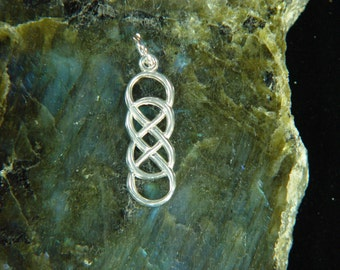 Double Infinity Knot Pendant 31mm.  Solid Argentium® Sterling Silver Pendant *AS94648