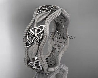 14kt white gold celtic trinity knot wedding band, matte finish wedding band, engagement ring CT7190GM