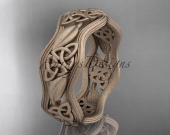 14kt rose gold celtic trinity knot wedding band, matte finish wedding band, engagement ring CT7510G