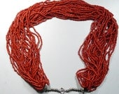 "Vintage Red Coral Heishe  beads, 27 strands, 18"" long, 2 1/2 mm beads, vintage necklace to be worn or beautiful glowing beads to reuse."