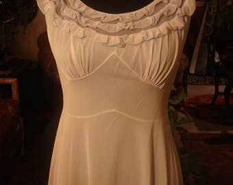 Vintage Ruffled Neckline Lingerie Gown