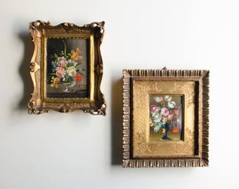 Vintage Ornate Gilt Framed Miniature Oil Painting Flowers - Made in Italy