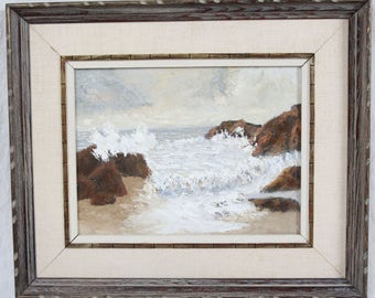 Vintage 60's Mid Century 9x12 Double Painting Seascape Waves Crashing on Rocks Beach Mountains