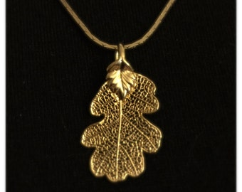Gold Dipped Leaf Pendant Necklace