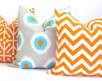 PILLOW SET.Orange Pillows16x16 inch.Pillow Covers.Housewares.Home Decor.Dominos.Ikat.Chevron.Blue.Grey.Cushions.Cm.Orange.Blue.Chevron.Gray
