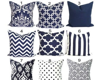 Navy Pillow Cover.Navy Blue Pillows, Decorative. Blue Pillow Cover.Blue Pillow.Decorative Pillow, Solid Blue, Chevron, All Sizes, Cushion,cm