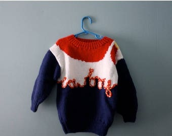 ON SALE Vintage Handknit Cowboy Sweater / 1980s knit novelty sweater in red, white & blue / Chunky knit sweater / Size  4T to 6