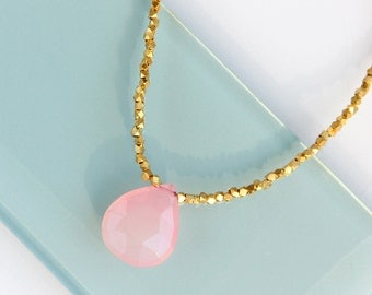 Pink Gemstone Necklace - Gold, Grapefruit, Blush Pink Chalcedony