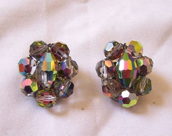 Aurora Borealis Rainbow Iris Glass Earrings Clip Vintage