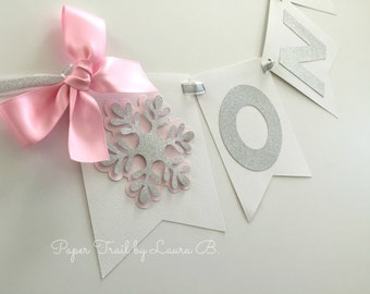 Winter ONEderland Highchair Banner in Pink and Silver. Silver Glitter Snowflake.  Winter Wonderland Party Decorations.