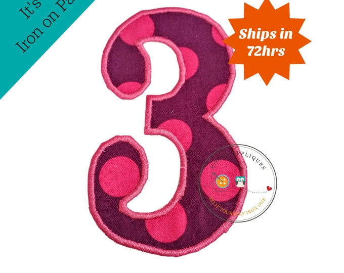 Pink and purple polka dot number 3- iron embroidered fabric applique patch embellishment- ready to ship