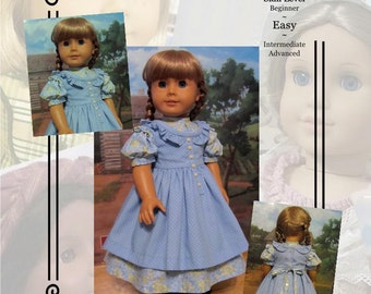 "Pattern KDD03 ""Prairie Ruffles"" Pinafore & Dress- An Original KeepersDollyDuds Design, 18"" Doll Clothes"