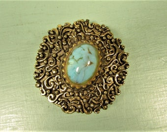 Solid Perfume Compact - Vintage Max Factor Hypnotique Turquoise