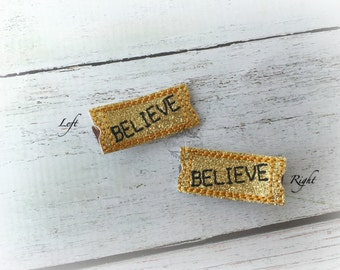 Polar Express hair clip believe ticket train hair clip soft clippie Pick one or two. Pick Left side or Right.