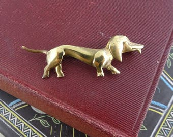Vintage Brass Dachshund Dog Brooch, Cute Vintage Sausage Dog Pin