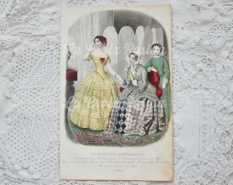 Antique French fashion plate, antique engraving, vintage book plate, fashion illustration, hand tinted, hand colored, ORIGINAL 1800s, No. 7