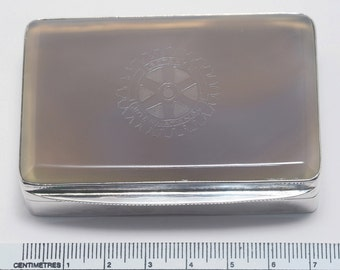 Gray Agate Snuffbox Unique Intaglio Engraved Club Devise Sterling Silver Gift Offered At Below Cost Price 925