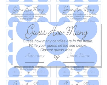 INSTANT DOWNLOAD - Guess How Many Pink Polka Dot Faux Silver Glitter Baby Shower Ticket Game