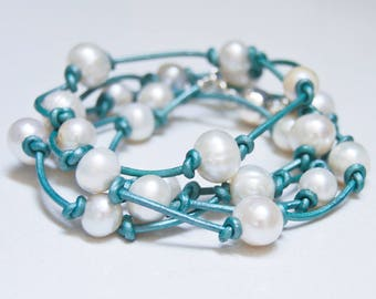 Pearl Wrap Bracelet | Turquoise Leather and Pearls | Converts to Necklace