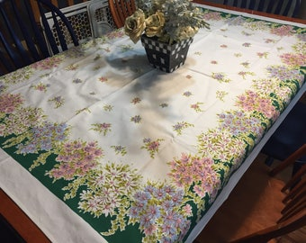 Vintage White with Green and Pink and Blue Flowers Printed Kitchen Dining Luncheon Table Cloth for housewares by MarlenesAttic