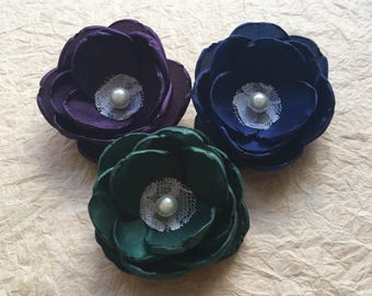 Aubergine navy green fabric flower hair clip, eggplant emerald blue accessory  sew on ornament on sash dress, shoe clips, pick the color