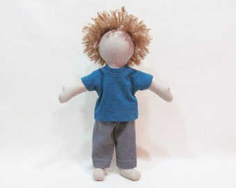 "Little 11"" doll with curly hair, Jack doll for Holding up the Universe by Jennifer Niven, Eco-friendly hemp doll, unique cloth doll"