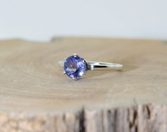 Tanzanite, (Genuine Tanzanite, 6mm x 0.80 Carat, Round Cut), Sterling Silver Solitaire Ring