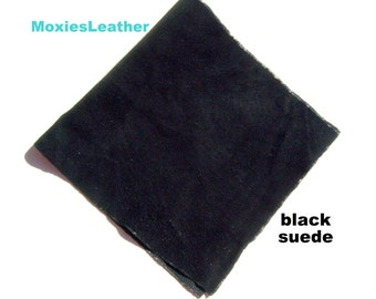black suede - soft suede leather - 6 inches by 12 inches or 15 x 30 cm - fire red suede