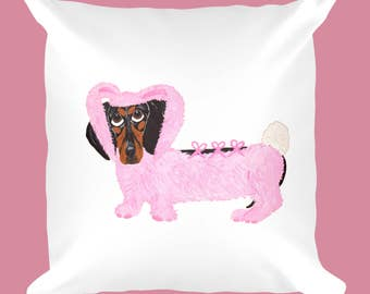 Dog Pillows /Dachshund Pillows/Dachshund In Fuzzy Pink Bunny Suit/Easter/Easter Bunny/Squirreldumplings/Doxie/Wiener Dog/Hot Dog/Gifts