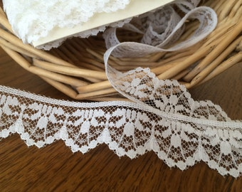 White Scalloped Lace, Flat White Lace, Create a Craft Lace  - 10 yards