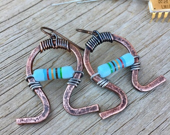 Engineer . Electrical . Blue . Resistor . Ohm Symbol . Copper . Sterling Silver . Upcycled . Earrings