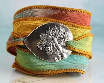 Dandelion Bracelet on Soft Silk Ribbon - Silk Wrist Wrap - Recycled Sterling Silver