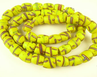 """22"""" strand matched yellow Venetian tribal glass beads old African trade AC-0059"""