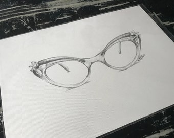 Vintage Glasses Pencil Drawing