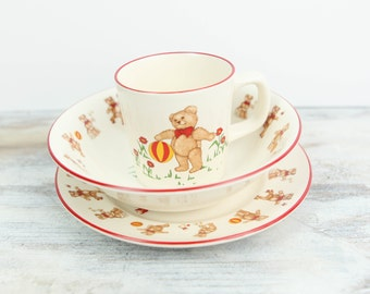 Vintage Child's Place Setting, Mason's Ironstone, Made in England Teddy Bears Pattern