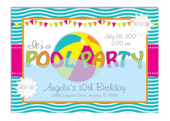 Girls Pool Party Birthday Invitation Beach Ball Fun