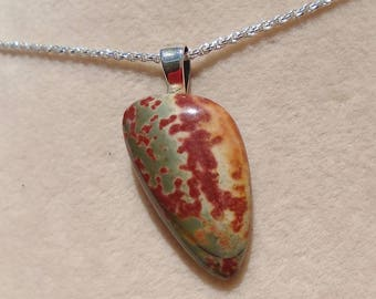 Jasper Pendant with Sterling Silver 1.2MM Diamond Cut Rope Chain 20 Inches