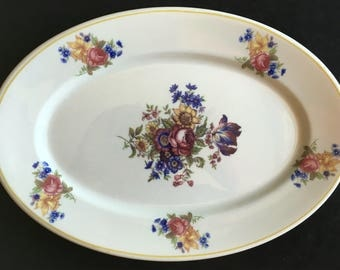 """Vintage Syracuse China Ivory """"Colonial"""" Floral 11.50"""" Restaurant Hotel Platter in Excellent Lightly-Used Condition"""