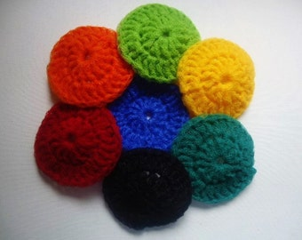 Pot Scrubbers Scrubbies Single Layer Nylon Net Set of 7 Assorted Colors Handmade Crochet