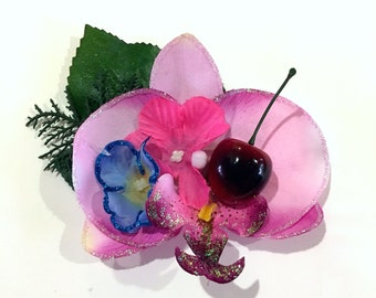 Orchid Bliss - pinup retro rockabilly tropical tiki hair flower clip