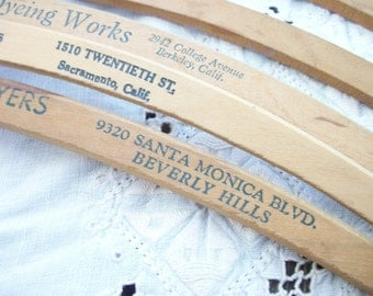 6 Vintage Wood Hangers ~Beverly Hills~ Advertising & Blank Cottage Lot ~ Farmhouse Chic - Wooden Hanger Antique / Display / Rustic Laundry E