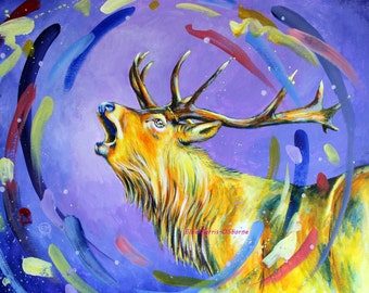 Stag Original Painting - Colorful Art - Acrylic Painting - Original Art
