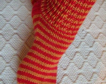 Womens Wool boot socks unisex Teen wool socks Handknitted striped Red Yellow Durable Cosy socks Warm Winter Gift idea Handmade in Finland