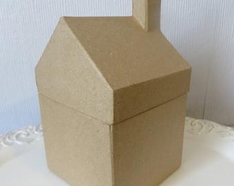 "Putz style cardboard house,paper mache house,village house,DIY,6"" high x 3-1/2"" x 3-1/2,""craft"