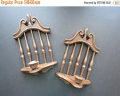 ON SALE Homco Wall Sconces // Vintage Faux Wood Candle Holders Retro Kitschy Dark Brown Wall Hanging Home Decor Mid Century 1974 USA Made