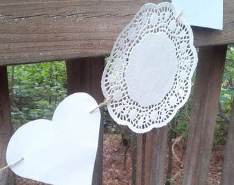 White Hearts and White Doilies Banner