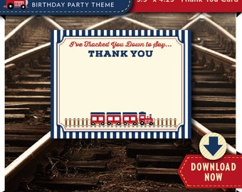 Train Thank You Card, Boys Train Birthday Party Printable, Blue and Red, Instant Download