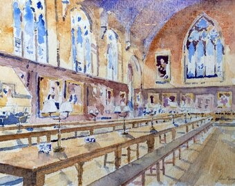 Balliol College Dining Hall Oxford -A4 size print from an original watercoloour painting by John Menage